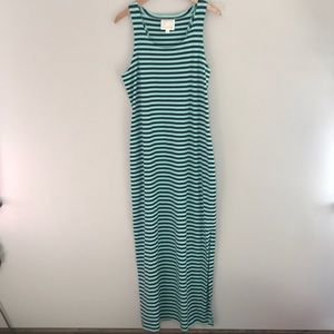 Sail to Sable cabbage/navy striped maxi dress